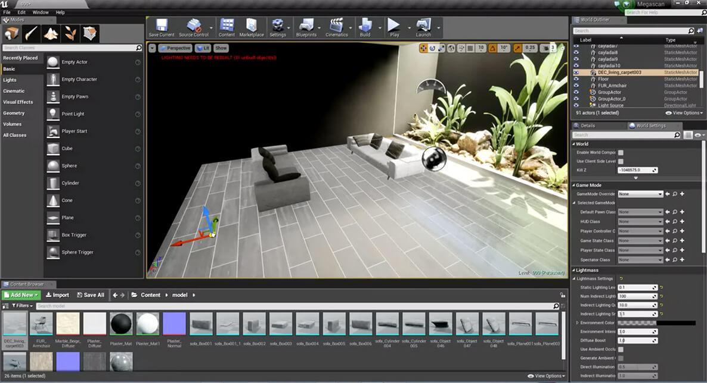 Pracovní prostředí Unreal Engine