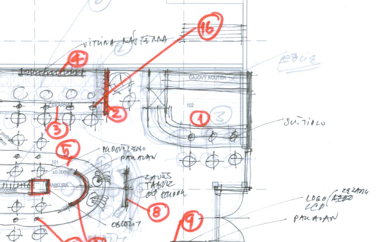 Příklad ručně kreslených výkresů, které jen zhruba naznačují přání klienta.